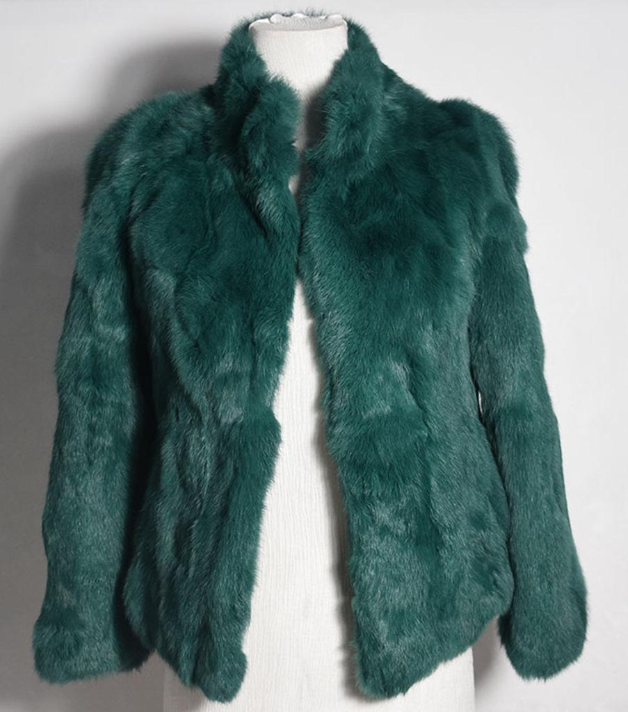 yeşil tavşan kürkü kısa ceket sk28345