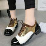 altın metalik bağcıklı oxford ayakkabı sk29655