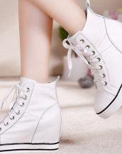beyaz bağcıklı gizli topuk sneaker-sk30157