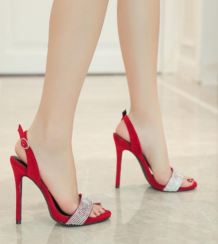 kırmızı taşlı topuklu süet sandalet sk30181