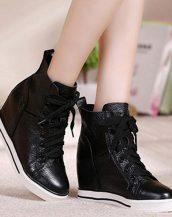 siyah bağcıklı gizli topuk sneaker-sk30157