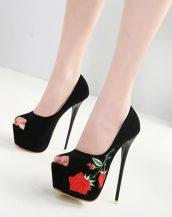 siyah nakışlı süet platform ayakkabı sk30170
