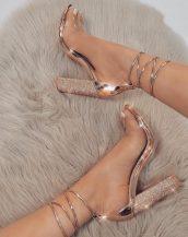 altın taşlı topuklu sandalet sk31191