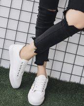beyaz çiçek nakışlı ayakkabı sk31168