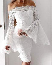 beyaz düşük omuzlu dantel elbise sk31368