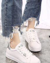 gri sim detaylı bayan ayakkabı sk31154
