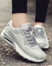 gri yüksek taban bağcıklı spor ayakkabı sk31179