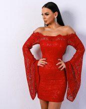 kırmızı düşük omuzlu dantel elbise sk31368