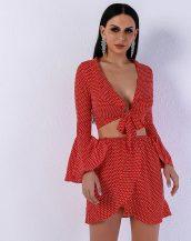 kırmızı puantiyeli iki parçalı elbise sk31358