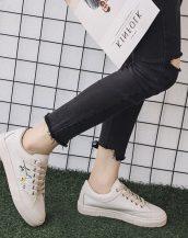 krem çiçek nakışlı ayakkabı sk31168