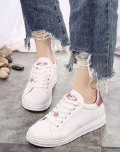 pembe sim detaylı bayan ayakkabı sk31154