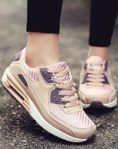 pembe yüksek taban bağcıklı spor ayakkabı sk31179