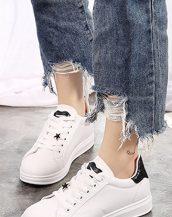 siyah sim detaylı bayan ayakkabı sk31154