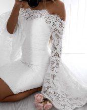 sk31368 beyaz yarasa kollu elbise