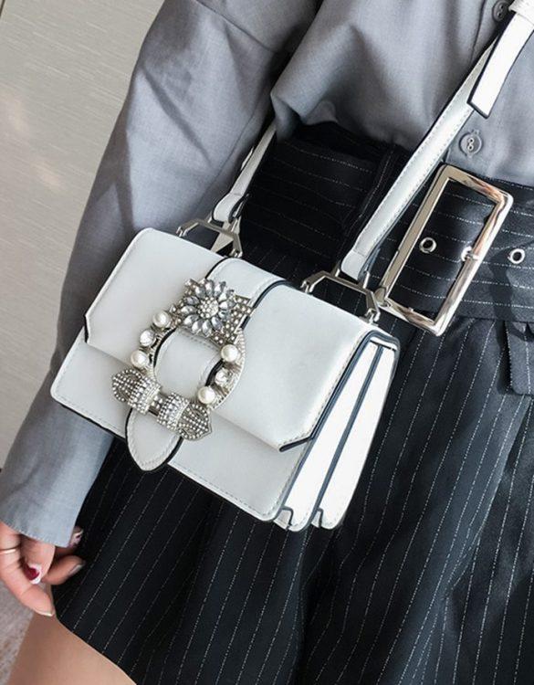 beyaz incili mini omuz çantası sk32124