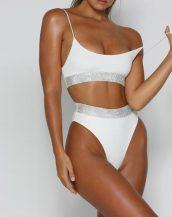 beyaz taş detaylı yüksek bel bikini sk32257