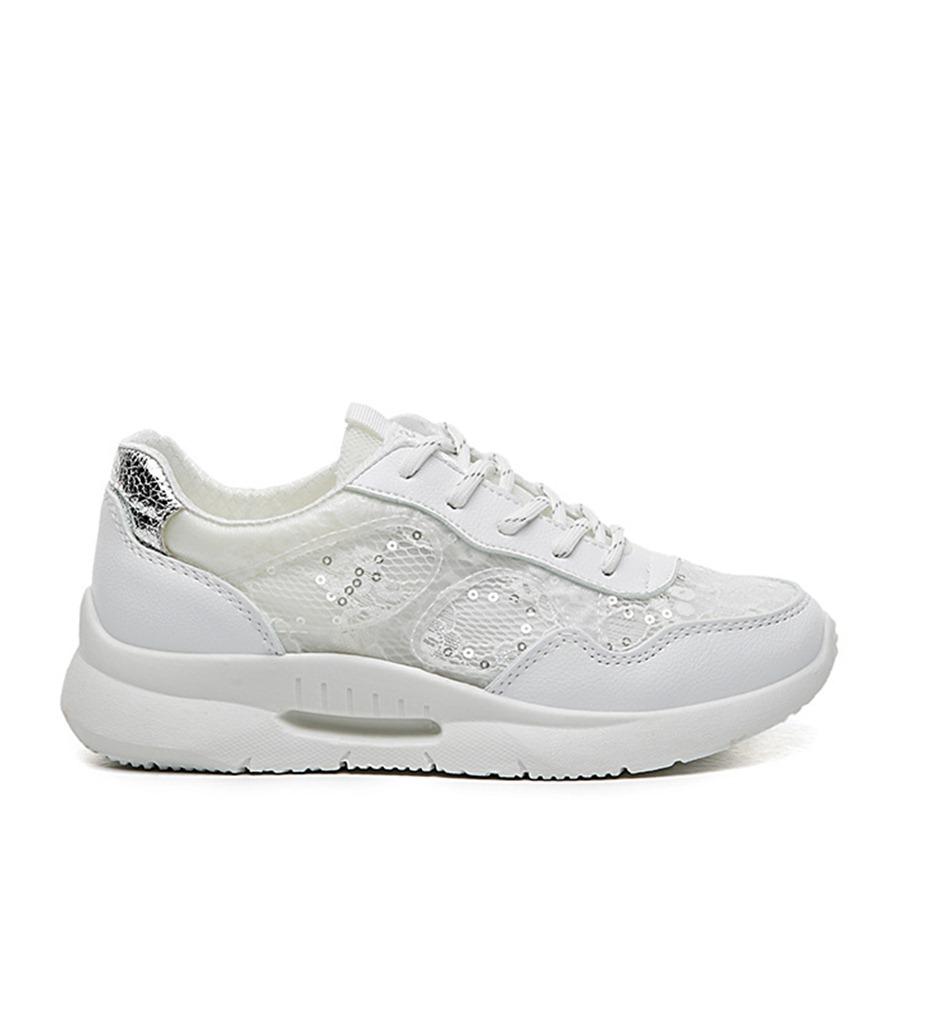 gümüş dantel detaylı bağcıklı spor ayakkabı sk31889