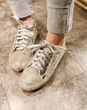 gümüş kristal taşlı bağcıklı ayakkabı sk31597