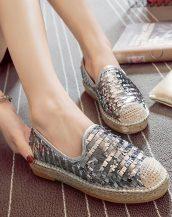 gümüş payet detaylı espadril ayakkabı sk31629
