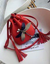 kırmızı aksesuarlı mini omuz çantası sk32101
