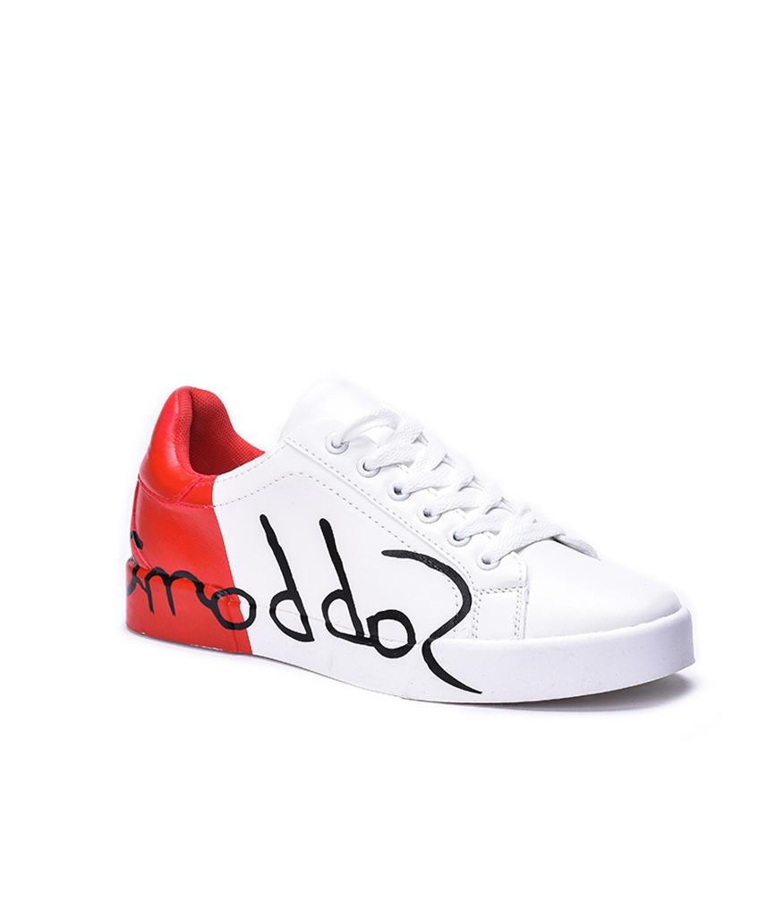 kırmızı baskı detaylı bağcıklı ayakkabı sk31849