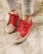 kırmızı kristal taşlı bağcıklı ayakkabı sk31597