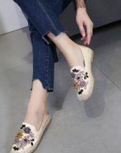 krem boncuklu espadril ayakkabı sk31616