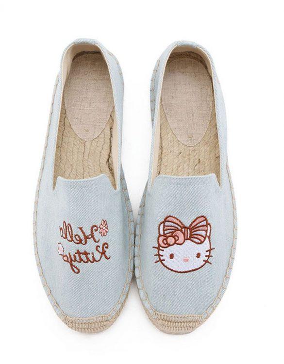 mavi nakış işlemeli espadril ayakkabı sk31832