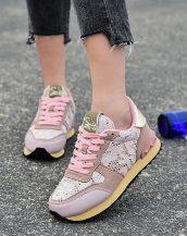 pembe dantel detaylı spor ayakkabı sk31590