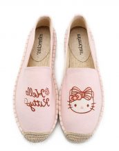 pembe nakış işlemeli espadril ayakkabı sk31832