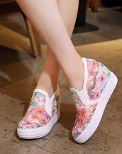 pembe nakış işlemeli gizli topuk ayakkabı sk31862