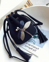 siyah aksesuarlı mini omuz çantası sk32101