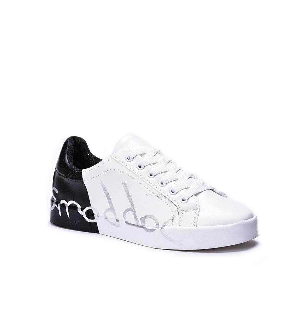 siyah baskı detaylı bağcıklı ayakkabı sk31849