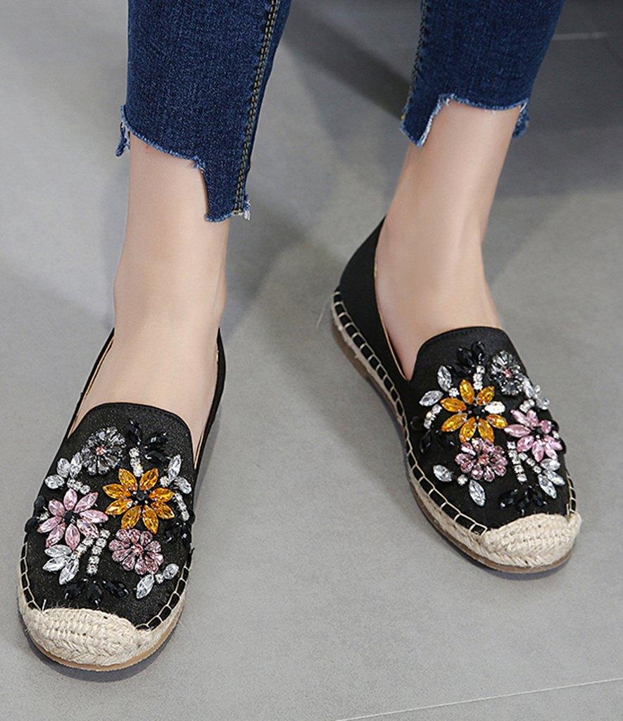 siyah boncuklu espadril ayakkabı sk31616