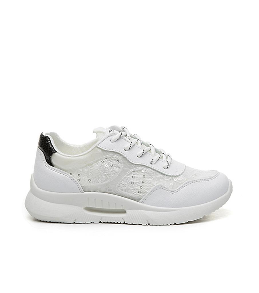 siyah dantel detaylı bağcıklı spor ayakkabı sk31889