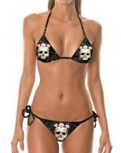 siyah kuru kafa desenli bikini sk32235