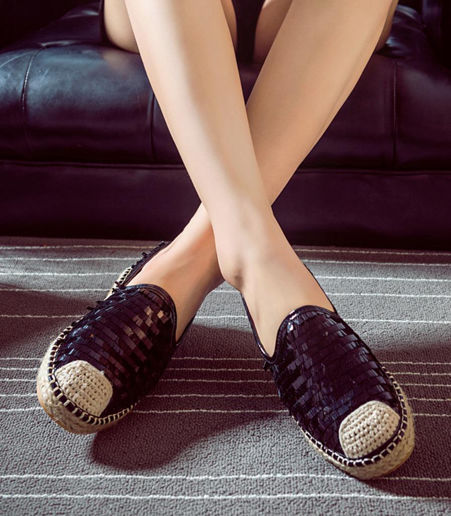siyah payet detaylı espadril ayakkabı sk31629