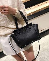 siyah zımbalı ufak tote çanta sk32087