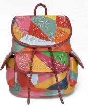 zımbalı yumuşak deri renkli sırt çantası sk32025