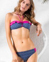 mavi fırfırlı boyun askılı bikini sk33264