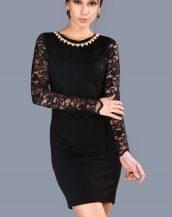 siyah dantelli yaka aksesuarlı mini elbise sk33459