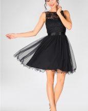siyah inci işlemeli tüllü elbise sk33519