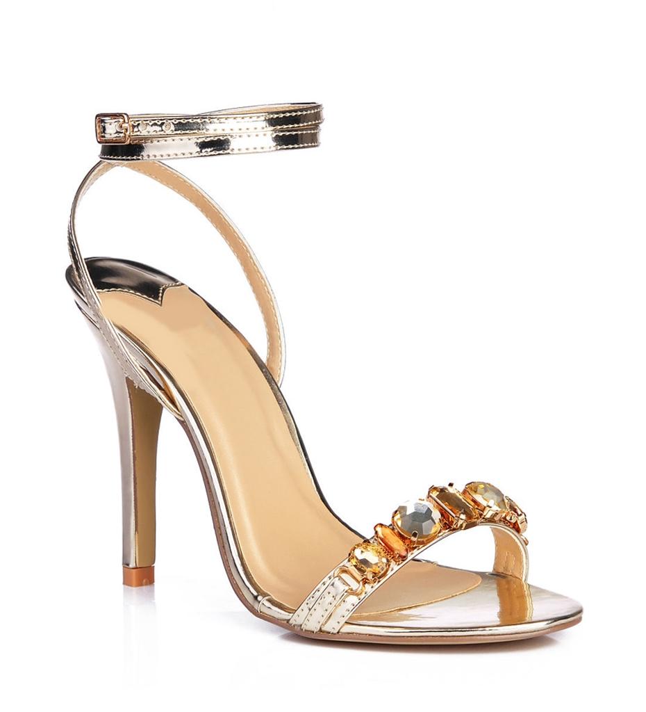 altın rengi taş detaylı topuklu sandalet sk35039