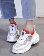 kırmızı beyaz taşlı spor ayakkabı sk34799
