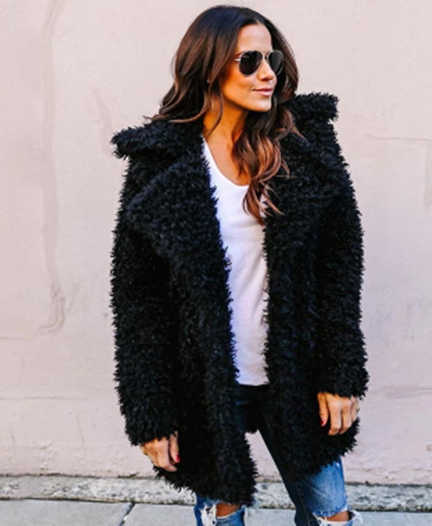 siyah tüylü kürk ceket sk34791