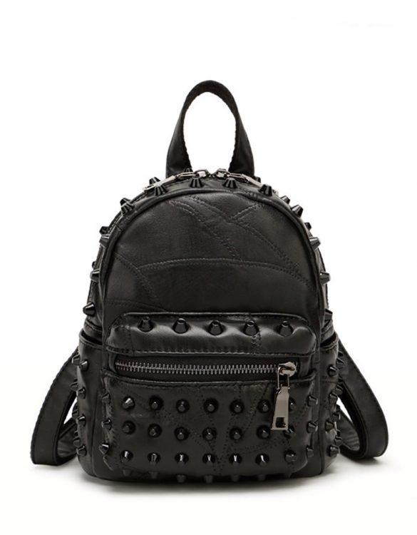 siyah zımbalı mini sırt çantası sk35059