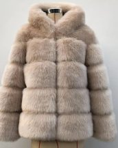 bej kapüşonlu suni kürk ceket sk36722
