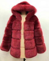 bordo kapüşonlu suni kürk ceket sk36722