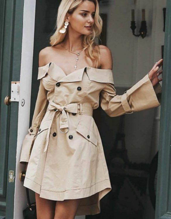 düşük omuz elbise ceket sk36015