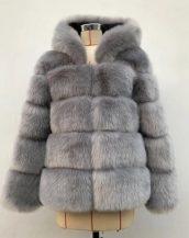gri kapüşonlu suni kürk ceket sk36722